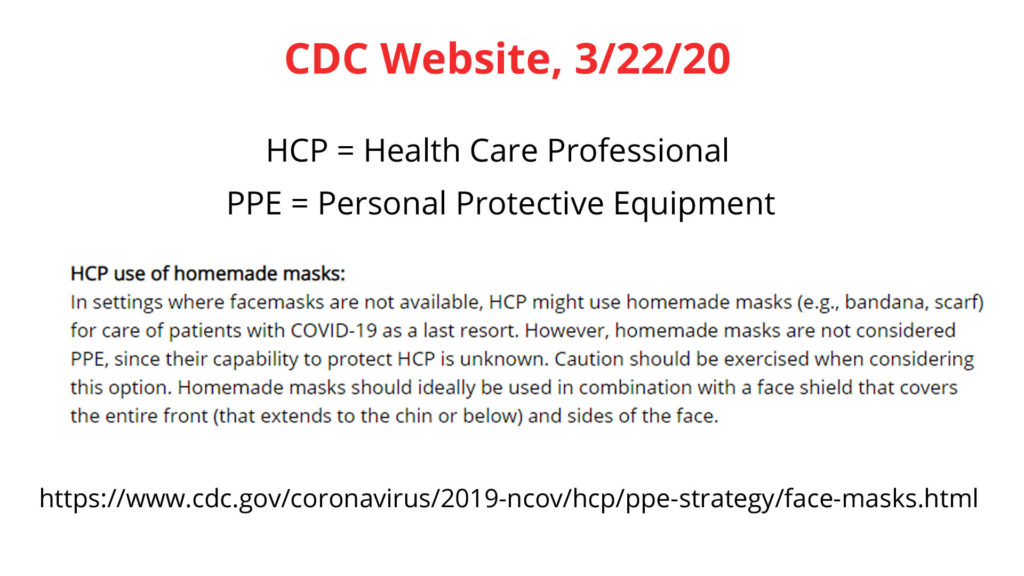 CDC face masks