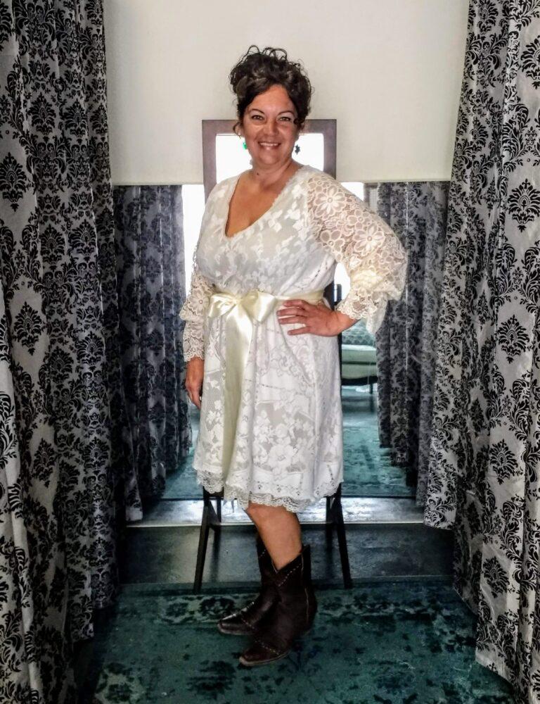 Short lace custom wedding dress