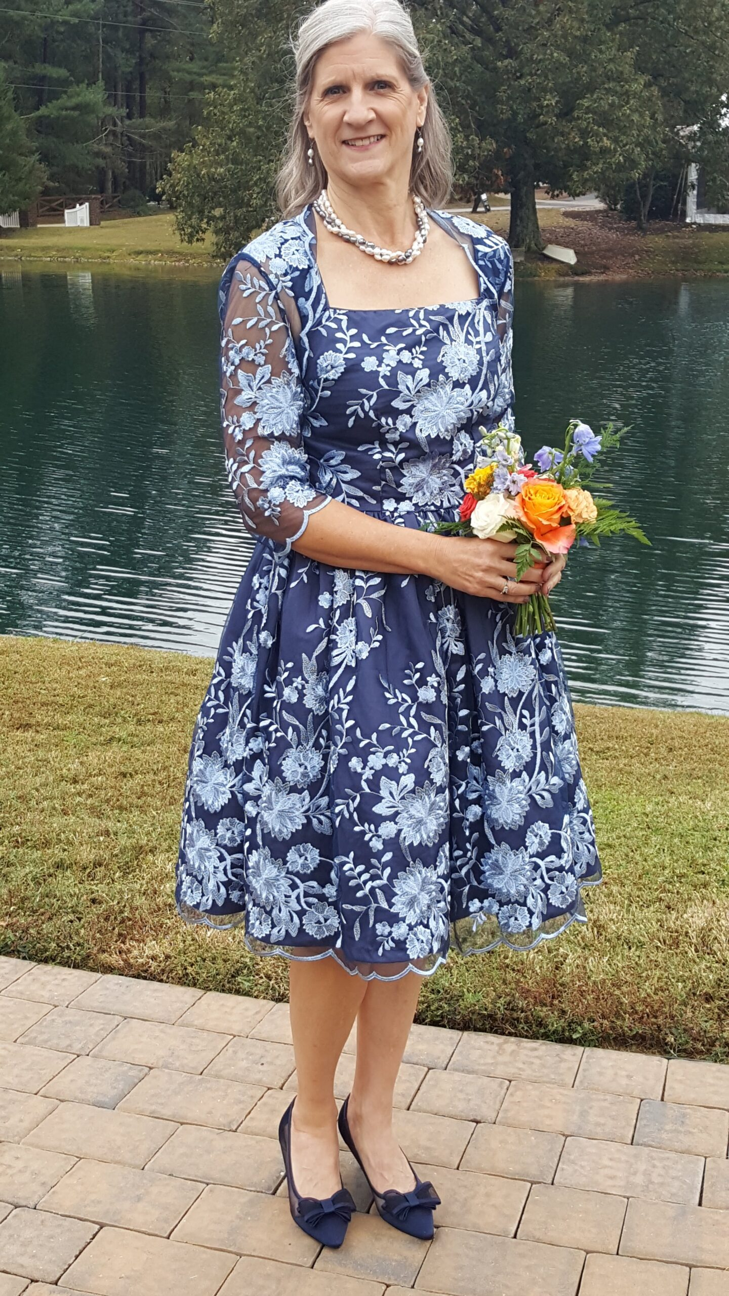 Custom mother-of-the-bride blue lace dress